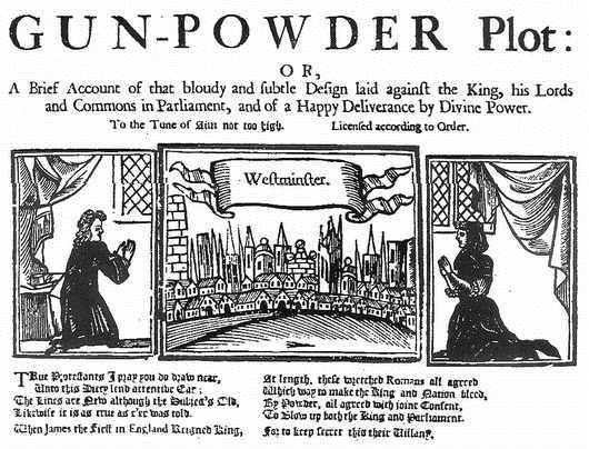 Folleto inglés impreso entre 1675 y 1696 en el que se relatan en verso, desde una perspectiva anticatólica, los pormenores de la Conspiración de la Pólvora. (Public Domain)