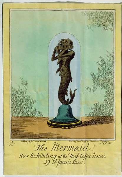 Ilustración de la criatura que sería conocida más tarde como la sirena de Fiji, tal como aparece en un folleto encargado por el capitán de navío estadounidense Samuel Barrett Eades. (Public Domain)