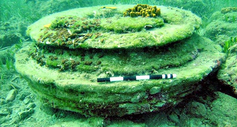 Según los científicos, las formas de disco y anillo, que parecían asemejarse a bases de columnas circulares, son típicas de la mineralización en las filtraciones de hidrocarburos. (Fotografía: UEA)