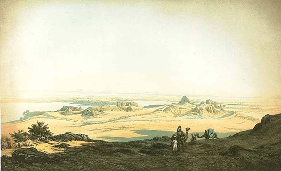 Imagen de mediados del siglo XIX en la que se observan los fuertes de Semna y Kumna en el desierto, vistos desde el oeste. (Dominio público)