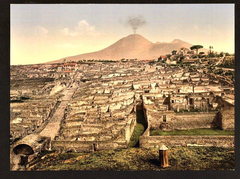 Fotografía de la ciudad de Pompeya tras ser desenterrada, tomada alrededor del año 1869. Biblioteca del Congreso de los Estados Unidos.(Flickr)
