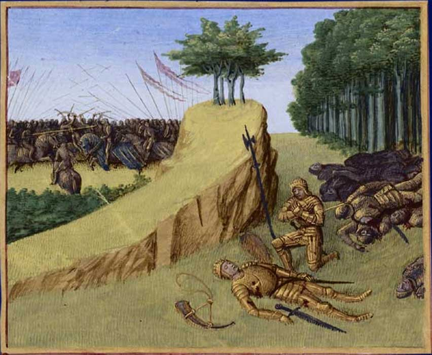 La muerte de Roldán, ilustración de Jean Fouquet (1455-1460). (Public Domain)