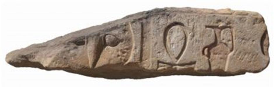 Fragmento de arquitrabe con el nombre del Templo de Tutmosis I, Khenemt-ankh. (Fotografía: J. Iwaszczuk)