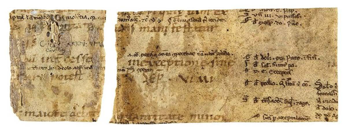 Dos fragmentos de manuscrito que forman una sola tira utilizada alrededor del lomo en la encuadernación. El texto es parte del Corpus Iuris Civilis, editado entre los años 529 y 534 por orden del emperador Justiniano I. (Dominio público)