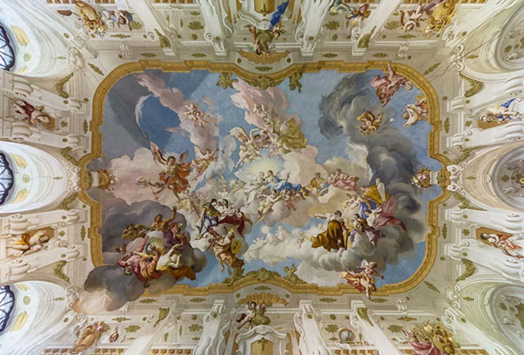 La armonía entre Ciencia y Religión, fresco en el techo del Salón de Mármol del Monasterio de Seitenstetten (Baja Austria) pintado por Paul Troger en 1735. (CC BY-SA 4.0)