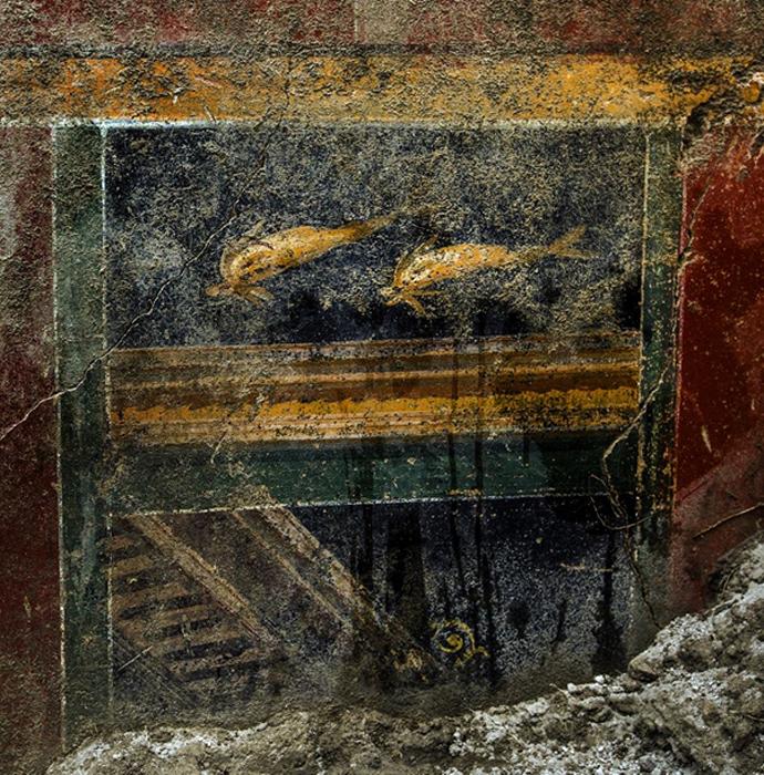 Fresco descubierto en la 'Domus de los Delfines' la semana pasada. (Pompeya - Parco Archeologico)