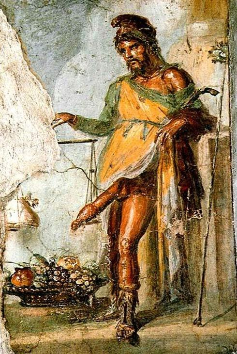 Príapo en un fresco de la Casa de los Vettii, Pompeya. El desventurado Príapo debió de ser realmente muy infeliz (Public Domain)