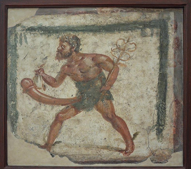 Príapo representado con los atributos de Mercurio en un fresco hallado en Pompeya y pintado entre el 89 a. C. y el 79 d. C. Museo Nacional Arqueológico de Nápoles. (CC BY SA 2.0)