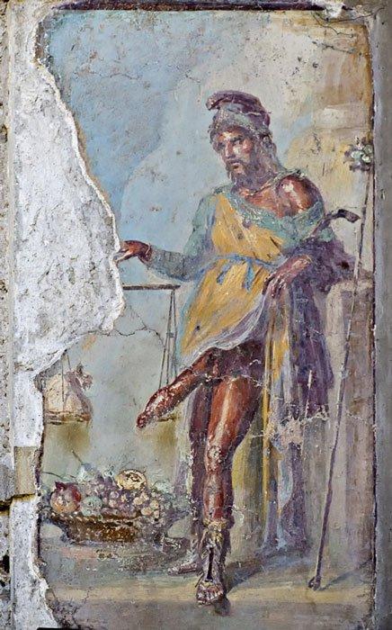 Fresco de Príapo con el pene erecto, Casa de los Vettii, Pompeya (BlackMac / Fotolia)