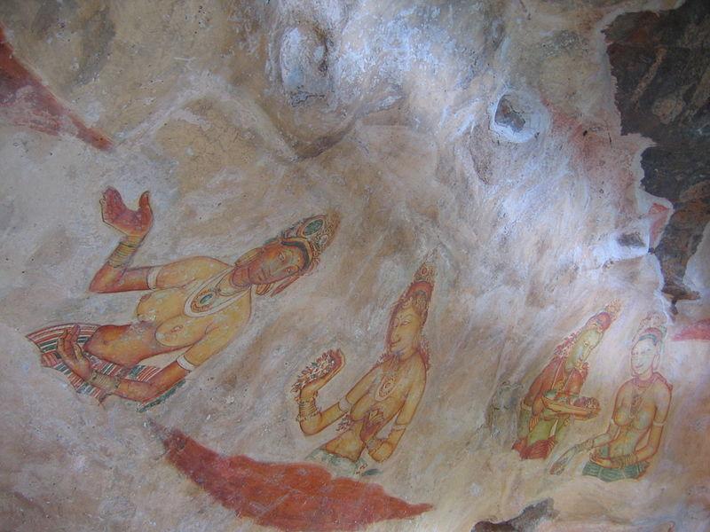 Fresco en el que podemos observar a varias mujeres del harén de Sigirya, Sri Lanka, (477 d. C. – 495 d. C.) (Bernard Gagnon/CC BY SA 3.0)