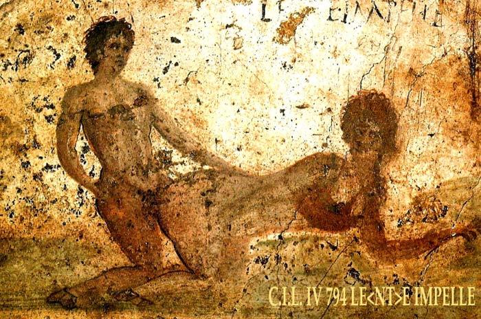 Uno de los frescos sexualmente explícitos que sorprendió a los descubridores de Pompeya a finales del siglo XVI (Fotografía: Fer.filo/Wikimedia Commons)