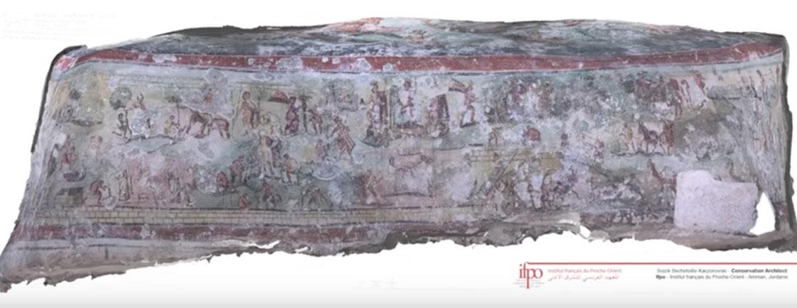 Fresco hallado en los muros de la tumba romana de Beit Bas. (Youtube)