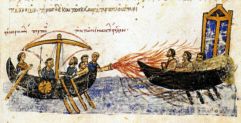 Ilustración de un antiguo manuscrito en la que observamos el uso del fuego griego contra una flota rebelde. Siglo XII, Codex Skylitzes Matritensis, Biblioteca Nacional de Madrid. (Dominio público)
