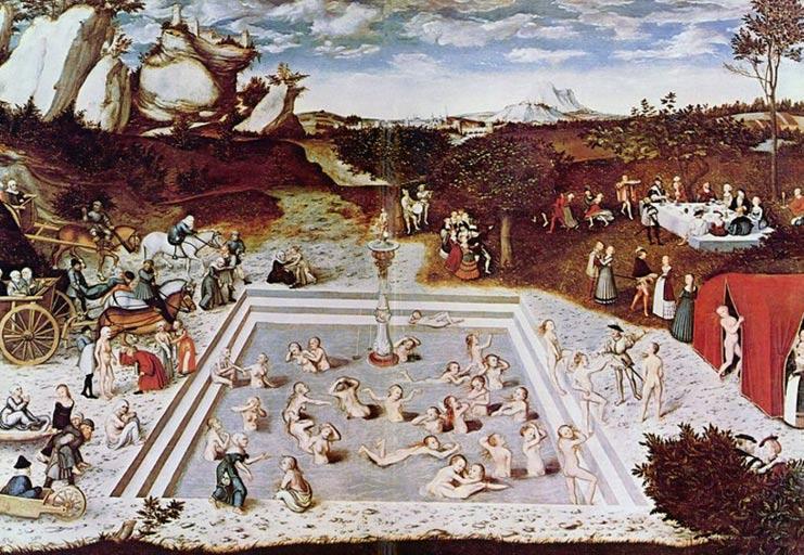 Fuente de la Eterna Juventud, óleo pintado en 1546 por Lucas Cranach el Viejo (Public Domain)