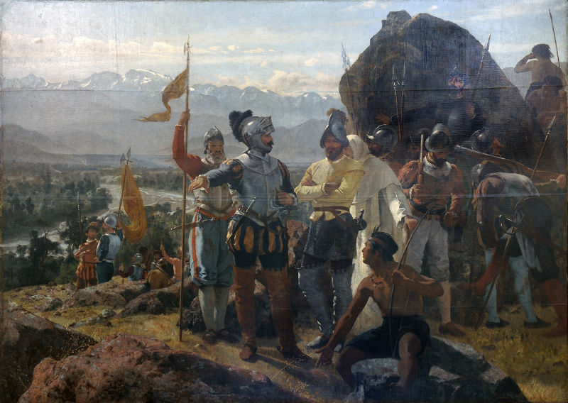 Fundación de Santiago de Chile, óleo de Pedro Lira (1888) (Public Domain)
