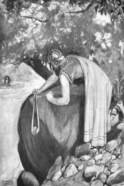 Furbaide prepara su honda, ilustración de Stephen Reid para el libro 'Mitos y leyendas de la raza céltica' (1911), escrito por T. W. Rolleston. (Public Domain)