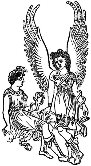 Dos furias, ilustración de un libro del siglo XIX en la que se reproduce una imagen de una antigua jarra griega. (Public Domain)