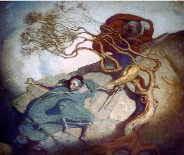 Loviatar teje sobre una ladera, pintada por el artista finlandés Gallen-Kallella.