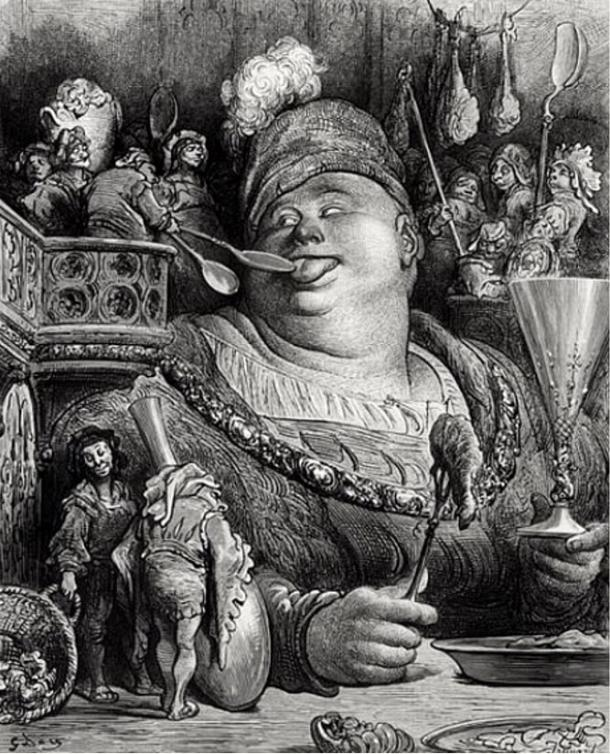 """La comida de Gargantúa, grabado de Gustave Doré. Gargantúa es un gigante, personaje de la novela de Rabelais """"Gargantúa y Pantagruel"""" (Wikimedia Commons)"""