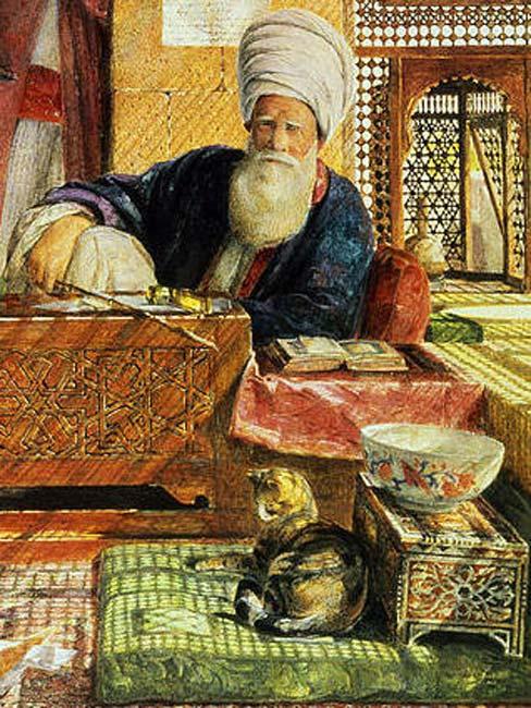 Gato descansando sobre un cojín junto a un imán en El Cairo. (Public Domain)