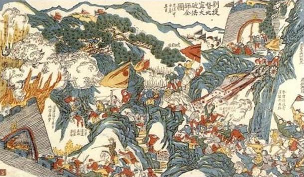 El General Liu Yongfu combatiendo a los Franceses en la guerra Franco-China (1884) (Wikimedia Commons)