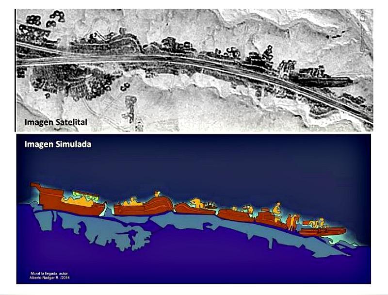 """Geoglifo de 200 metros de longitud denominado por el autor """"La Llegada,"""" en el que pueden observarse diversas embarcaciones con sus tripulantes, animales y víveres. (Fotografías: Alberto Nadgar Rojas)"""