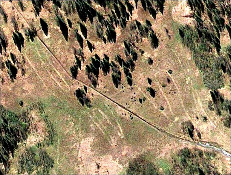 Imagen del misterioso geoglifo obtenida mediante el uso de Google Earth. (Fotografía: Stanislav Grigoriev/The Siberian Times)