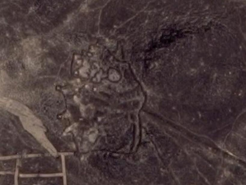 Geoglifo con forma de cometa ubicado en Jordania (Google)