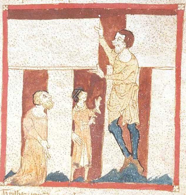 La más antigua representación conocida de Stonehenge: un gigante ayuda a Merlín a construir el famoso megalito. Ilustración de un manuscrito de la obra de Wace 'Roman de Brut', Biblioteca Británica. (Dominio público)