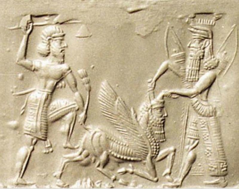 Gilgamesh y Enkidu dan muerte al Toro Celestial. Bajorrelieve Neo-Asirio, siglos VIII a. C. – VII a. C. (Flickr)