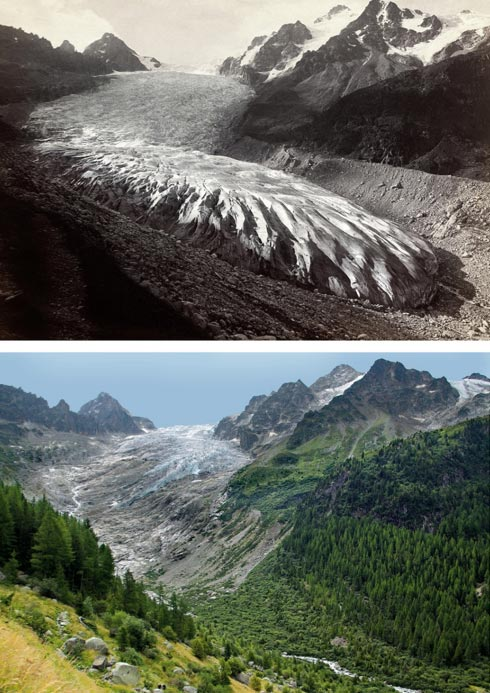 Glaciar del Trient en los años 1891 y 2010. (Musée d'histoire du Valais/Oscar Nicollier/Hilaire Dumoulin y Nicolas Crispini)