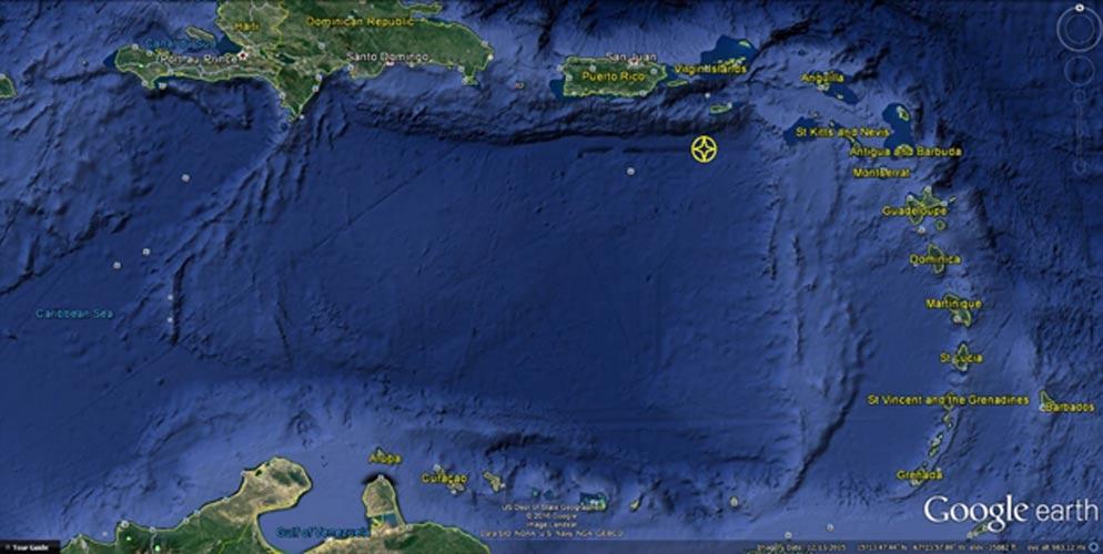 Cuenca del Caribe con la localización de la 'ciudad' (Google Earth)
