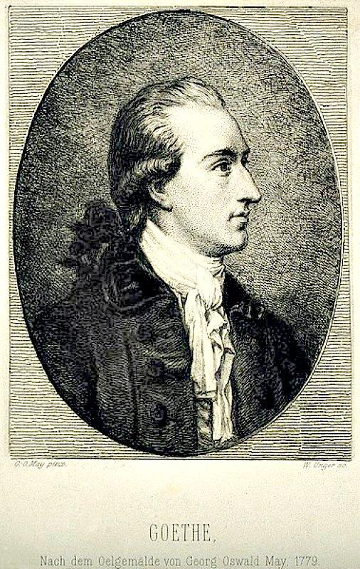 Johann Wolfgang von Goethe, grabado de W. Unger basado en un retrato realizado por Georg Oswald, mayo de 1779. (Wellcome blog post/CC BY-SA 4.0)
