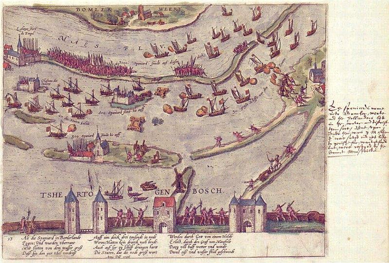 Grabado de la Batalla de Empel realizado por Frans Hogenberg y Georg Braun a finales del siglo XVII. (Public Domain)