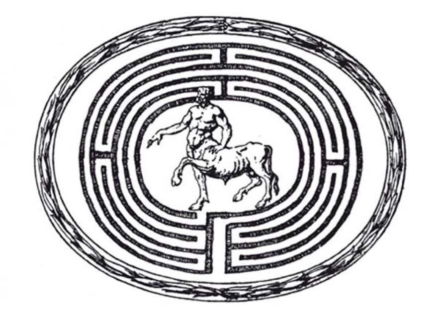 Grabado del Minotauro (representado aquí de forma parecida a un centauro) en el interior de un laberinto. (Dominio público)