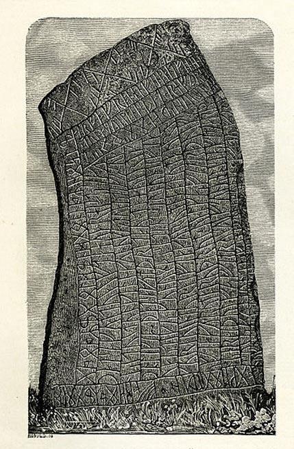 La piedra rúnica de Rök en un grabado de 1877. (Public Domain)