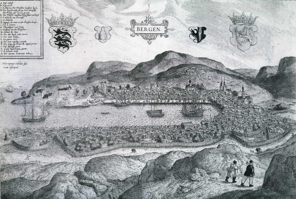Este grabado en cobre realizado en 1580 por Hieronymus Scholeus es el primer dibujo conocido de la ciudad de Bergen. (Dominio público)