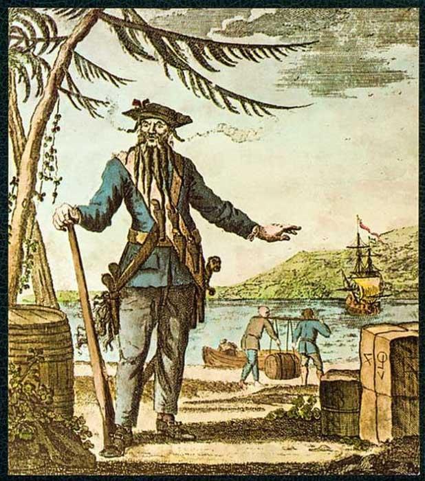 """Capitán Teach, alias Barbanegra"" impresión en color grabada sobre cobre, Oliver Payne, 1736. (Dominio público)"
