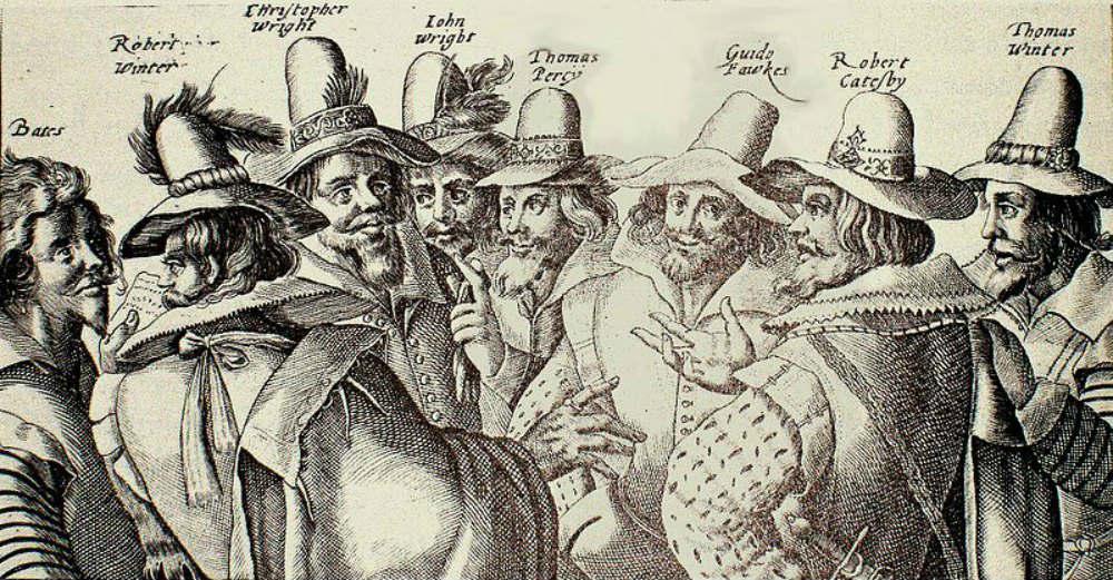 """""""Los conspiradores del Complot de la Pólvora"""", grabado contemporáneo a la conspiración obra de Crispijn van de Passe el Viejo. El autor probablemente no conoció personalmente a ninguno de los conspiradores, pero aún así su grabado alcanzó una gran popularidad. National Portrait Gallery, Londres. (Public Domain)"""