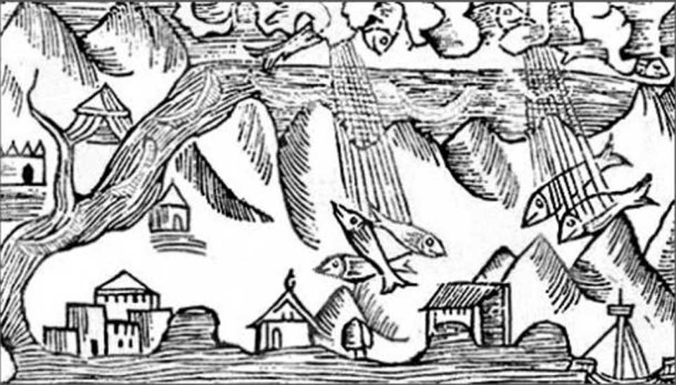 Grabado de 1555 en el que se observa una lluvia de peces. (Dominio público)