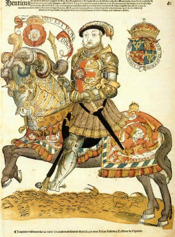 """Enrique VIII fue herido en la cabeza durante un torneo de justas cuando una lanza penetró por el visor de su yelmo. """"Enrique VIII de Inglaterra montando a caballo"""", grabado en madera, pintado a mano, obra de Hans Liefrink (1538-1599). Rijksmuseum de Ámsterdam. (Public Domain)"""