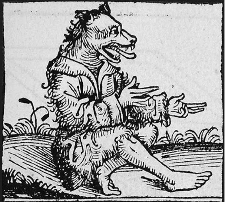 Peter Stumpp bajo su forma de lobo, grabado alemán sobre madera, siglo XVI.