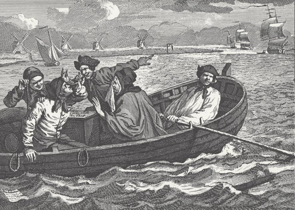 Grabado de 1747 obra de William Hogarth en el que aparecen marineros señalando a un patíbulo de la costa en el que hay un hombre ahorcado (Public Domain).