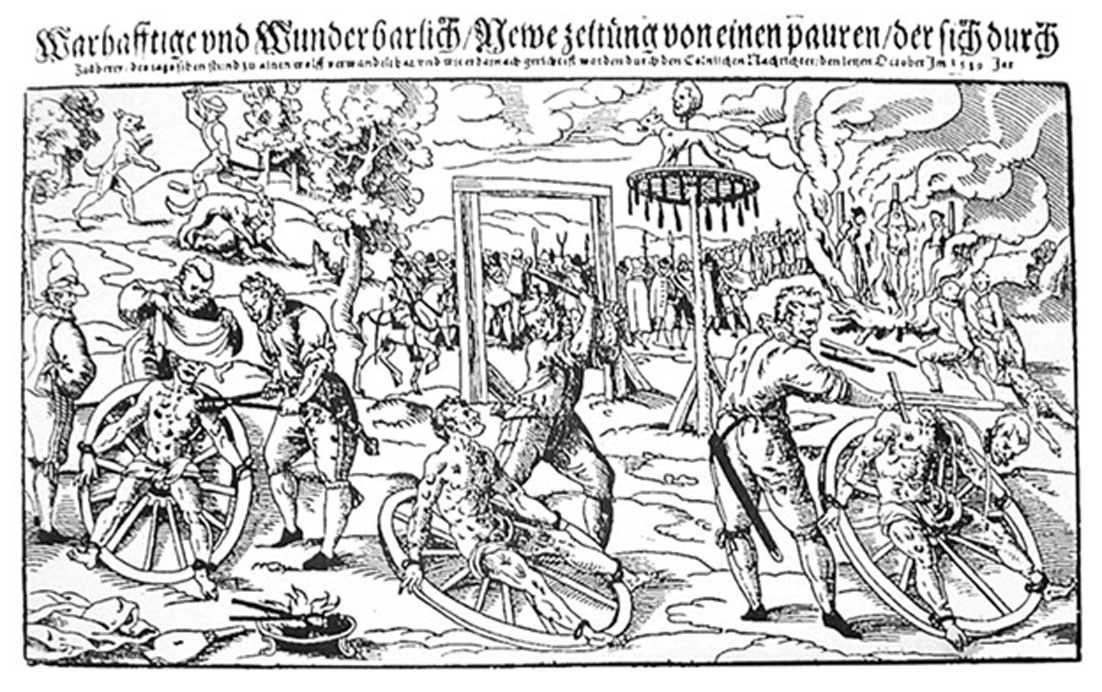 La ejecución de Peter Stumpp llevada a cabo en el año 1589 en Bedburg, cerca de Colonia. Grabado mixto en madera realizado por Lukas Mayer. (Dominio público)