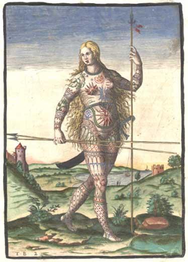 """Versión coloreada a mano del grabado de una mujer picta (miembro de un antiguo pueblo céltico de lo que hoy es Escocia) realizado por Theodor de Bry: """"El verdadero retrato de una mujer picta"""" (1588) (Dominio público)"""