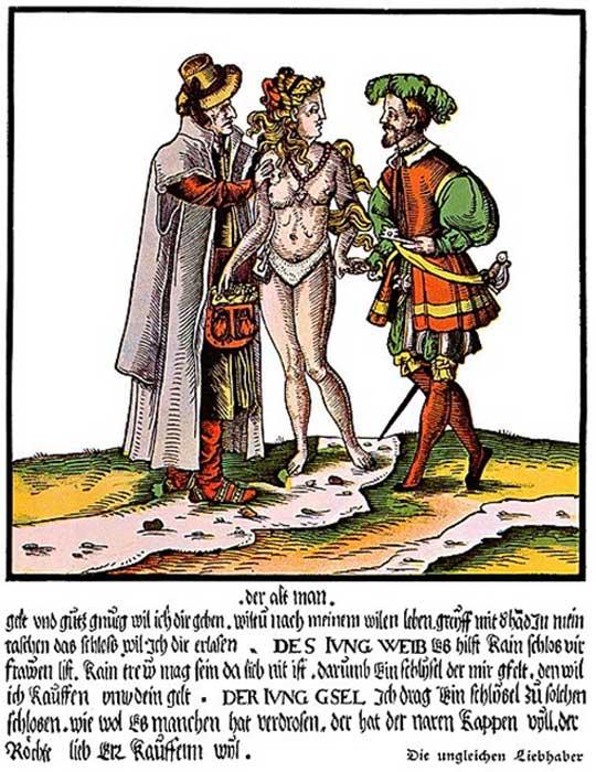 Grabado satírico alemán en color del siglo XVI cuyo tema general es la inutilidad de los cinturones de castidad a la hora de asegurar la fidelidad de una esposa joven y hermosa cuyo marido es viejo y poco agraciado. (AnonMoos/Dominio público)