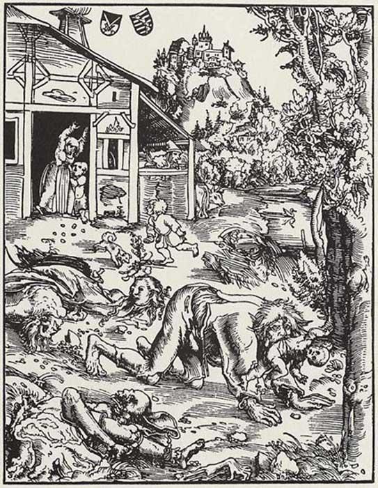 Grabado en madera de Lucas Cranach el Viejo, 1512, en el que podemos ver a un hombre lobo atacando una aldea y llevándose a un bebé. (Dominio público)