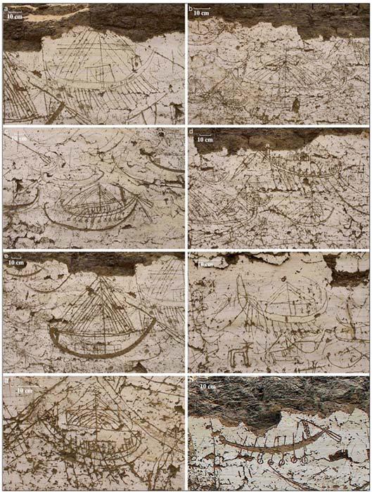 Diversas imágenes de embarcaciones grabadas sobre el muro norte de la estructura. (J. Wegner)