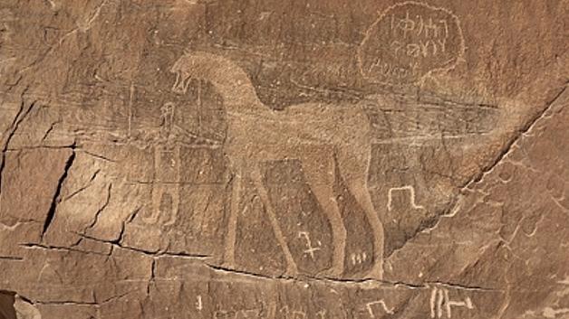 Algunos de los dibujos que aparecen grabados sobre la extraña roca. (Fotografía: Disclose TV/La Gran Época).