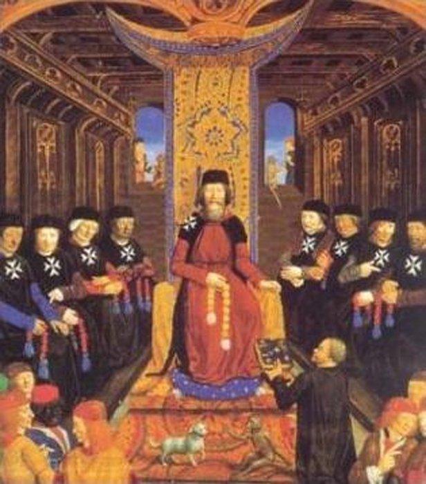 El Gran Maestre Pierre d'Aubusson con los principales Caballeros Hospitalarios. (Dominio público)